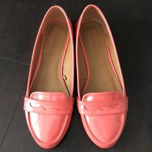 Zara Patent Faux Leather Coral Loafers